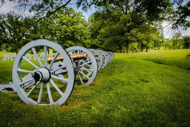 Battery of cannons ready to defend Valley Forge. A battery of cannons sites ready to defend Valley forge during the revolutionary war royalty free stock photos