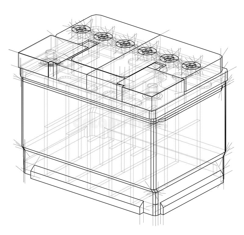 Battery car outline. Vector rendering of 3d stock illustration
