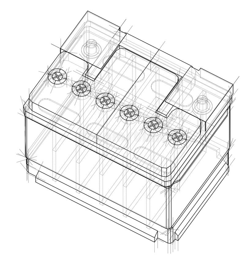 Battery car outline. Vector rendering of 3d royalty free illustration