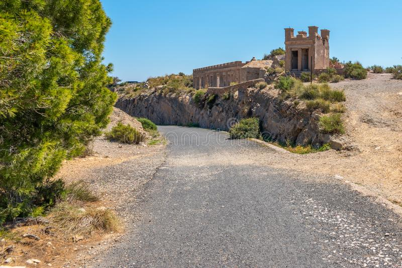 BATTERY CASTILLITOS, SPAIN - APRIL 13, 2019 Abandoned military constructions located in the hills near the bay of Cartagena. BATTERY CASTILLITOS, SPAIN - APRIL royalty free stock image