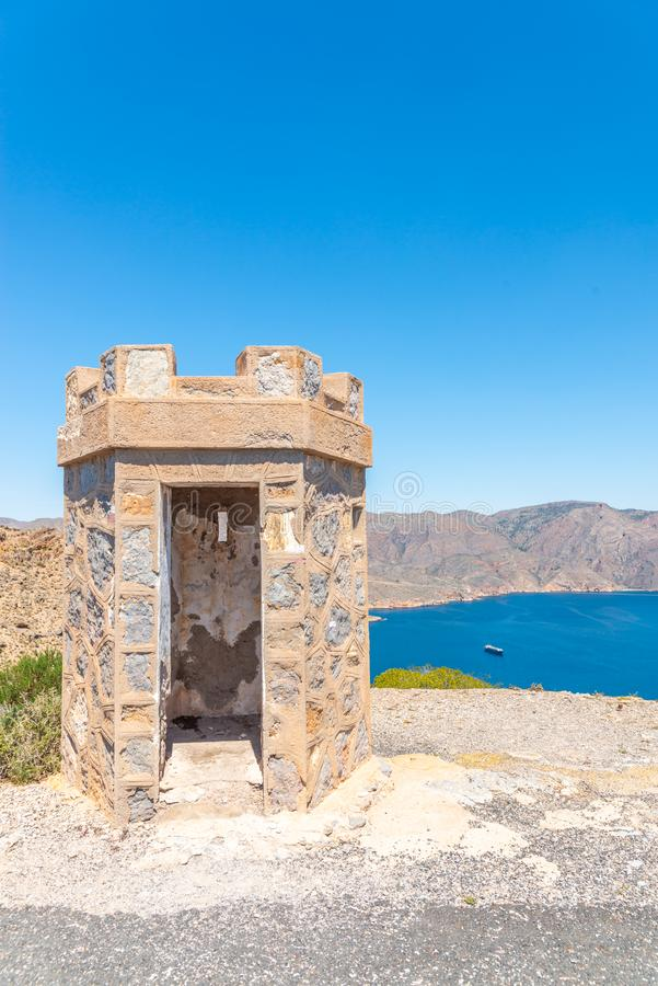 BATTERY CASTILLITOS, SPAIN - APRIL 13, 2019 Abandoned military constructions located in the hills near the bay of Cartagena. BATTERY CASTILLITOS, SPAIN - APRIL royalty free stock photos