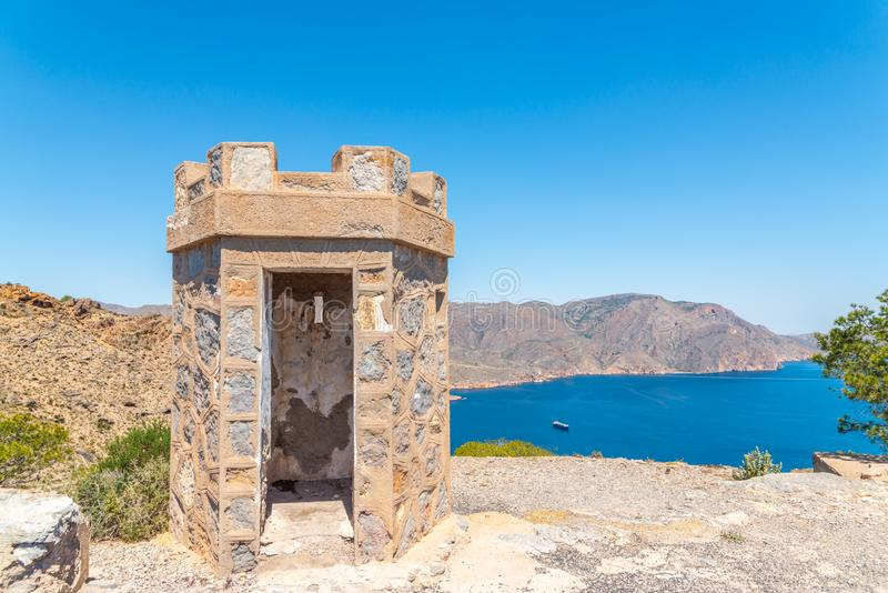 BATTERY CASTILLITOS, SPAIN - APRIL 13, 2019 Abandoned military constructions located in the hills near the bay of Cartagena. BATTERY CASTILLITOS, SPAIN - APRIL stock photography