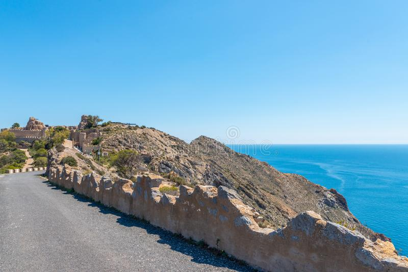 BATTERY CASTILLITOS, SPAIN - APRIL 13, 2019 Abandoned military constructions located in the hills near the bay of Cartagena. BATTERY CASTILLITOS, SPAIN - APRIL royalty free stock photo