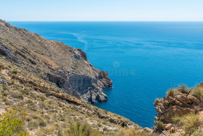 BATTERY CASTILLITOS, SPAIN - APRIL 13, 2019 Abandoned military constructions located in the hills near the bay of Cartagena. BATTERY CASTILLITOS, SPAIN - APRIL stock photos