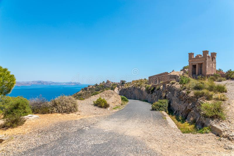 BATTERY CASTILLITOS, SPAIN - APRIL 13, 2019 Abandoned military constructions located in the hills near the bay of Cartagena. BATTERY CASTILLITOS, SPAIN - APRIL stock image