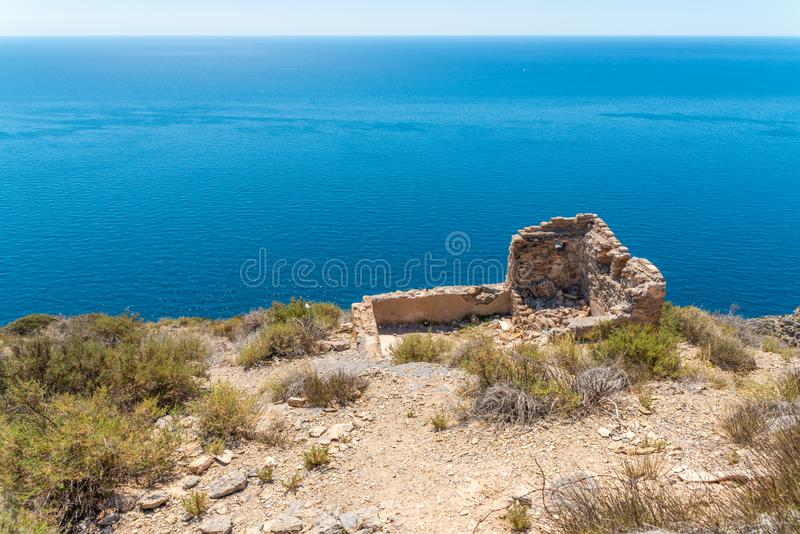 BATTERY CASTILLITOS, SPAIN - APRIL 13, 2019 Abandoned military constructions located in the hills near the bay of Cartagena. BATTERY CASTILLITOS, SPAIN - APRIL stock photo