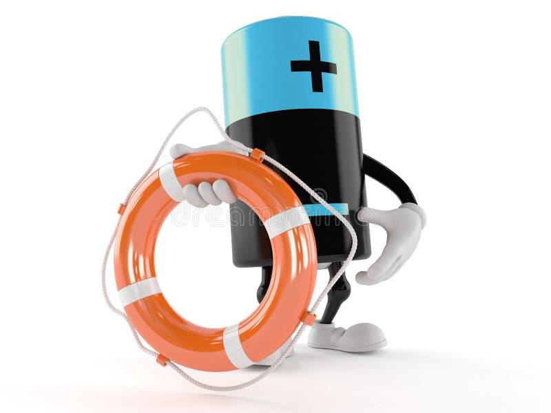 Battery character holding life buoy stock illustration
