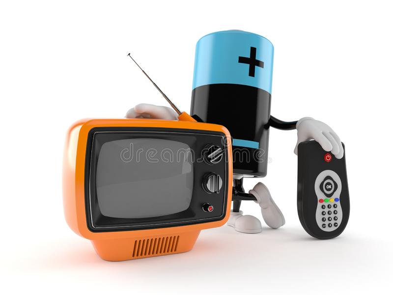Battery character with tv set and remote. Isolated on white background. 3d illustration stock illustration
