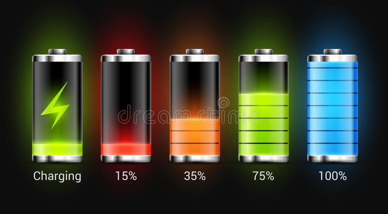 Battery charge design. Full charge energy for mobile phone. Accumulator indicator vector icon of power level.  stock illustration