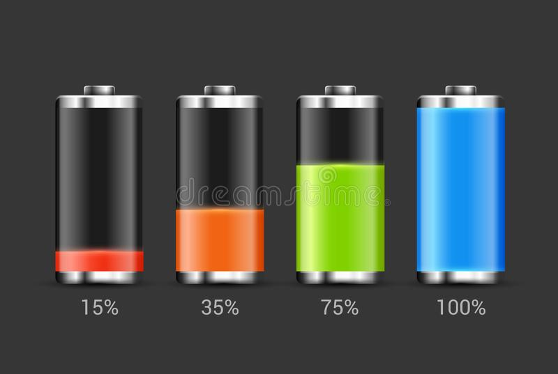 Battery charge design. Full charge energy for mobile phone. Accumulator indicator vector icon of power level.  vector illustration