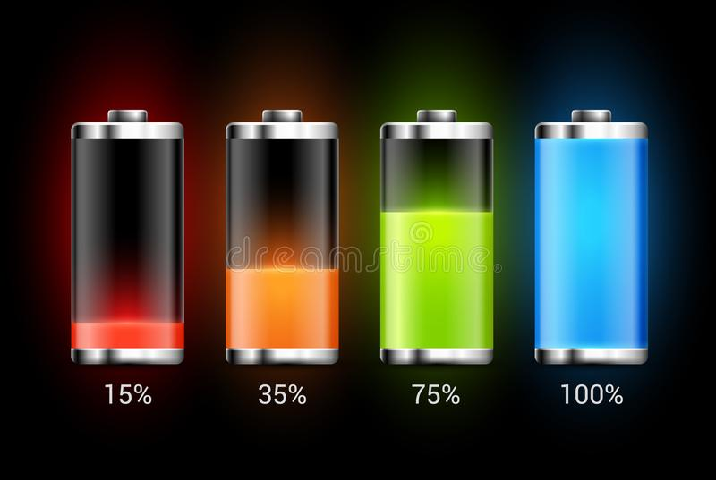 Battery charge design. Full charge energy for mobile phone. Accumulator indicator vector icon of power level.  royalty free illustration