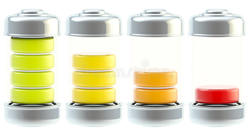 Battery charge icon set isolated stock illustration