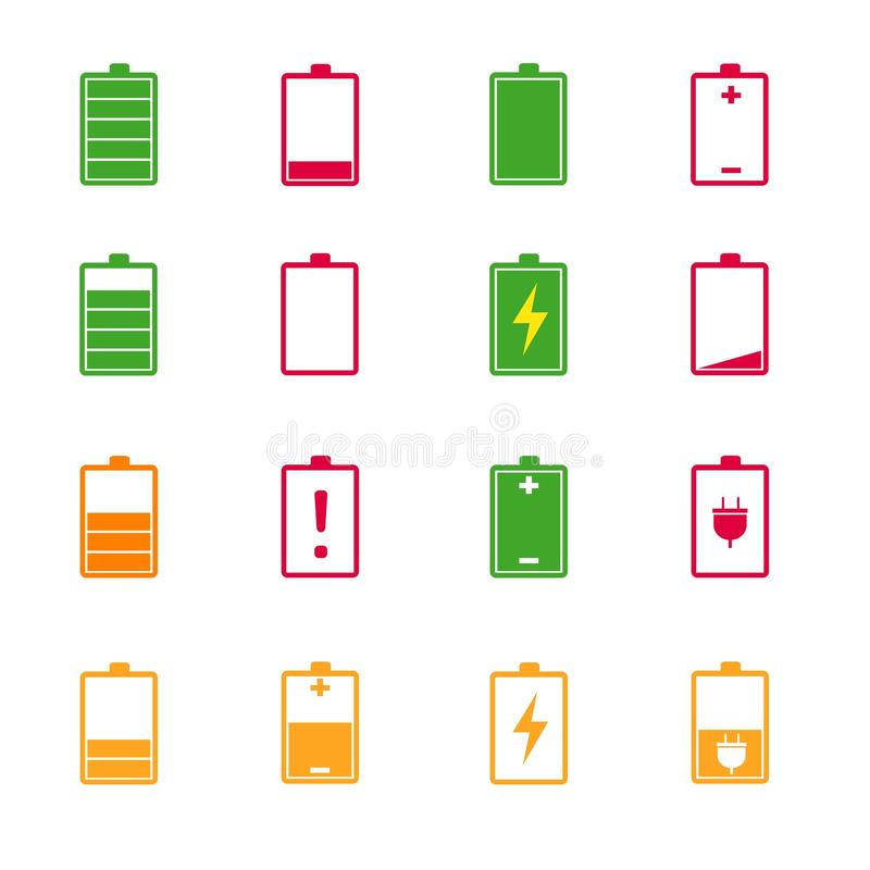 Battery charge level color icons set. On white stock illustration