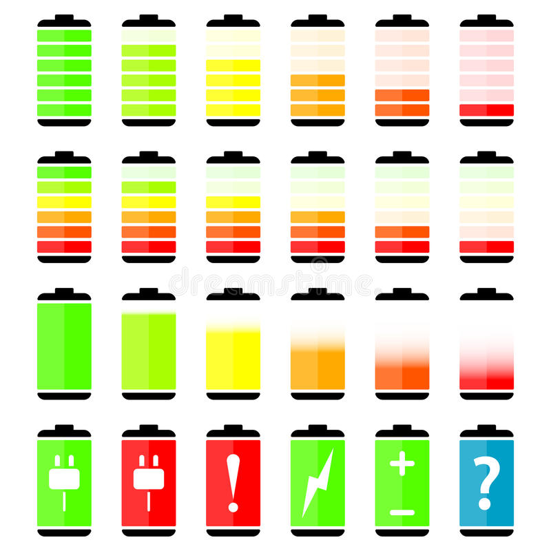 Battery charge level indicator icons. Vector illustration vector illustration