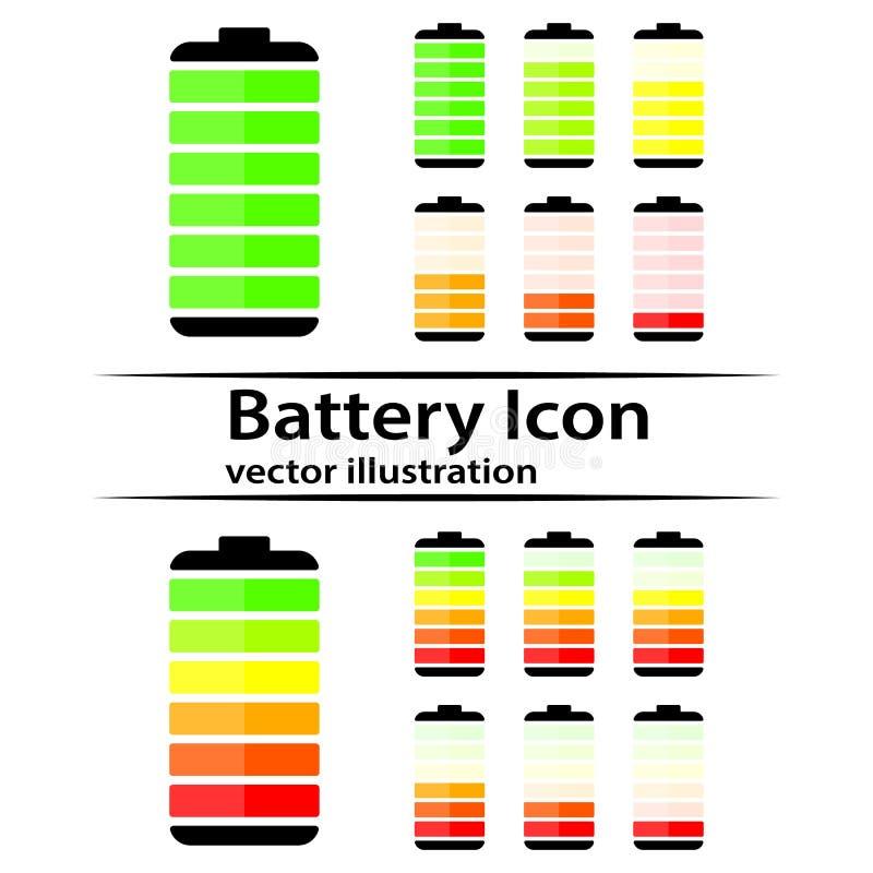Battery charge level indicator icons. Vector illustration stock illustration
