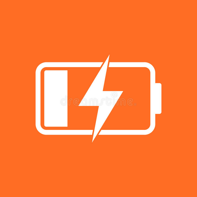 Battery charge level indicator. Vector illustration on orange ba. Ckground vector illustration