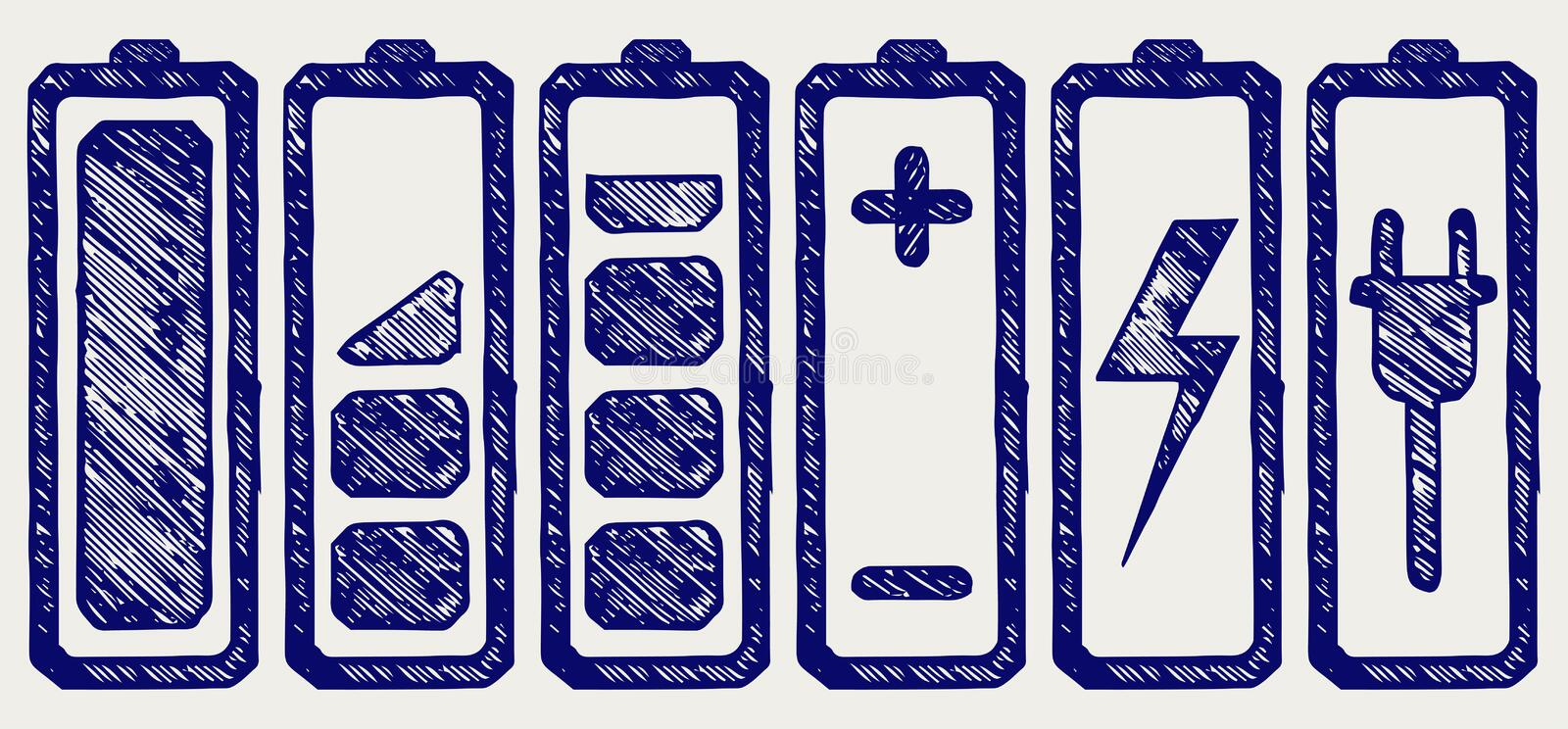 Battery charge level indicators. Doodle style vector illustration
