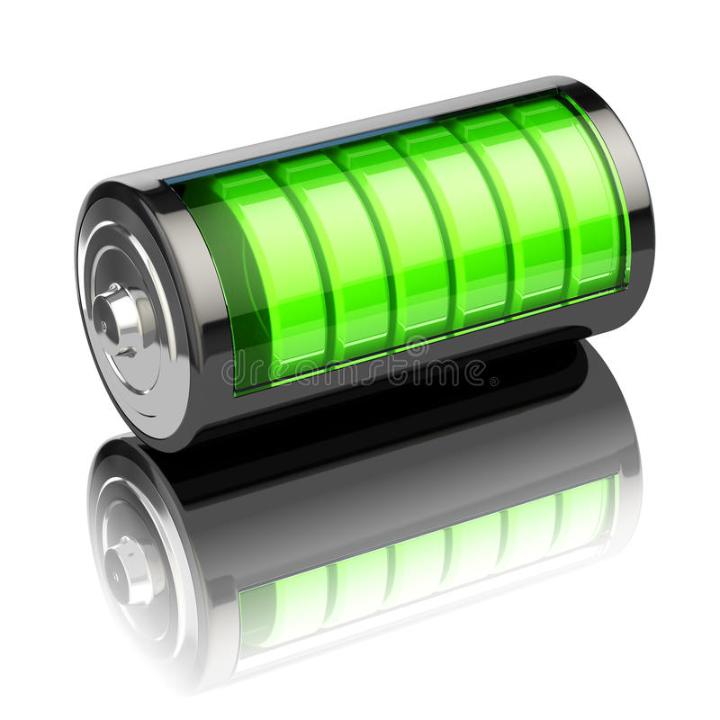 Battery charge level indicators on white. Charging. 3d stock illustration