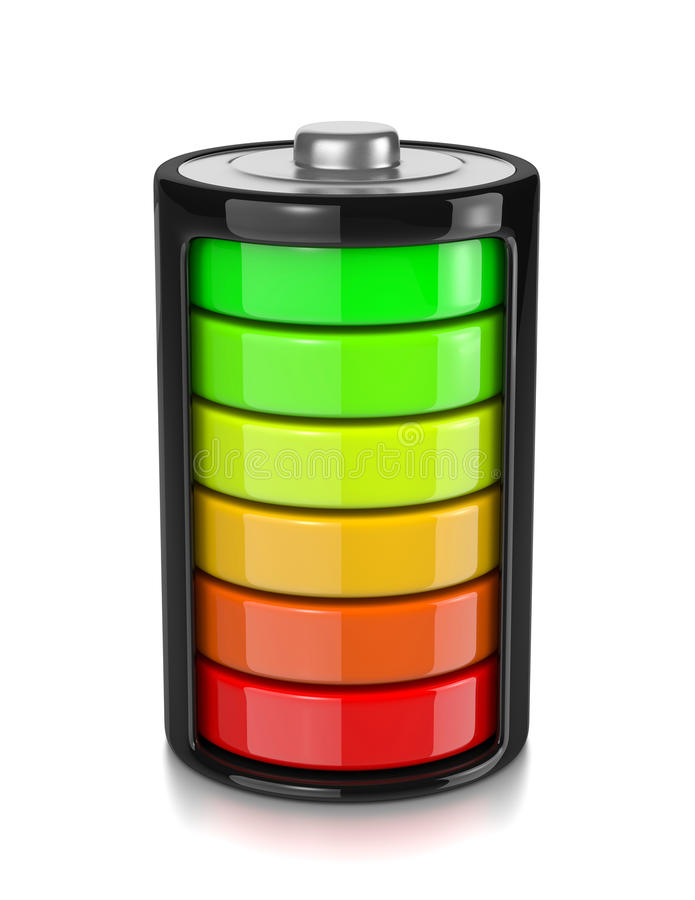 Battery Charge Level. One Single Electric Battery Showing Charge Level Isolated on White Background 3D Illustration vector illustration