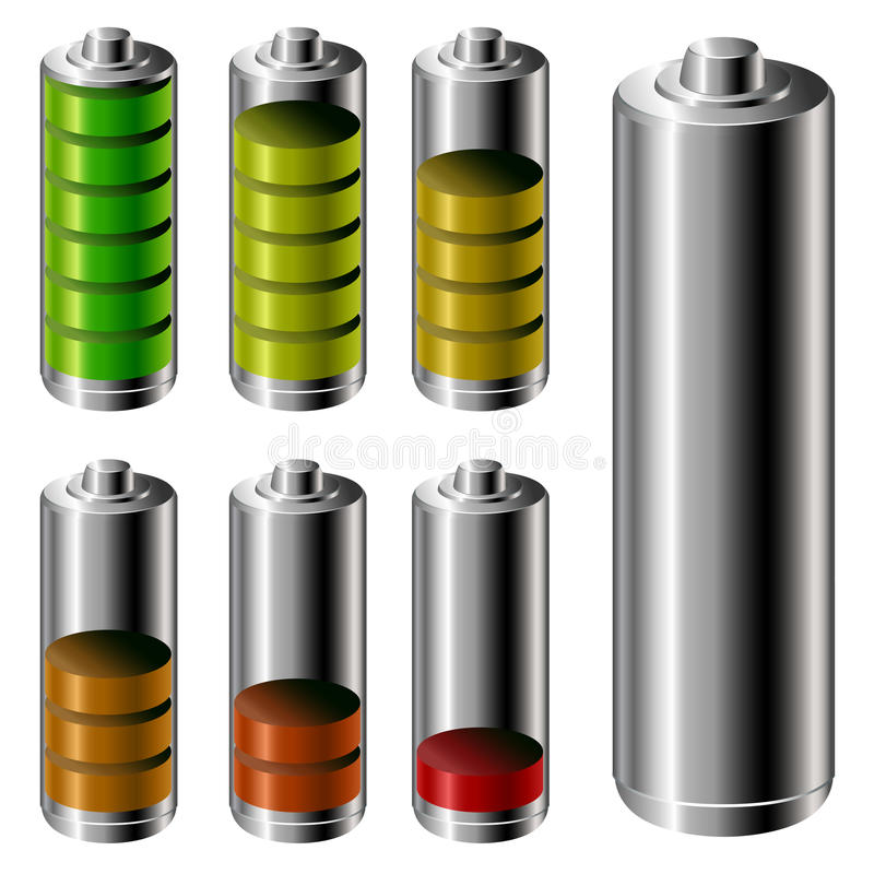 Battery charge level set. Battery charge level symbol set in different stages isolated on white royalty free illustration