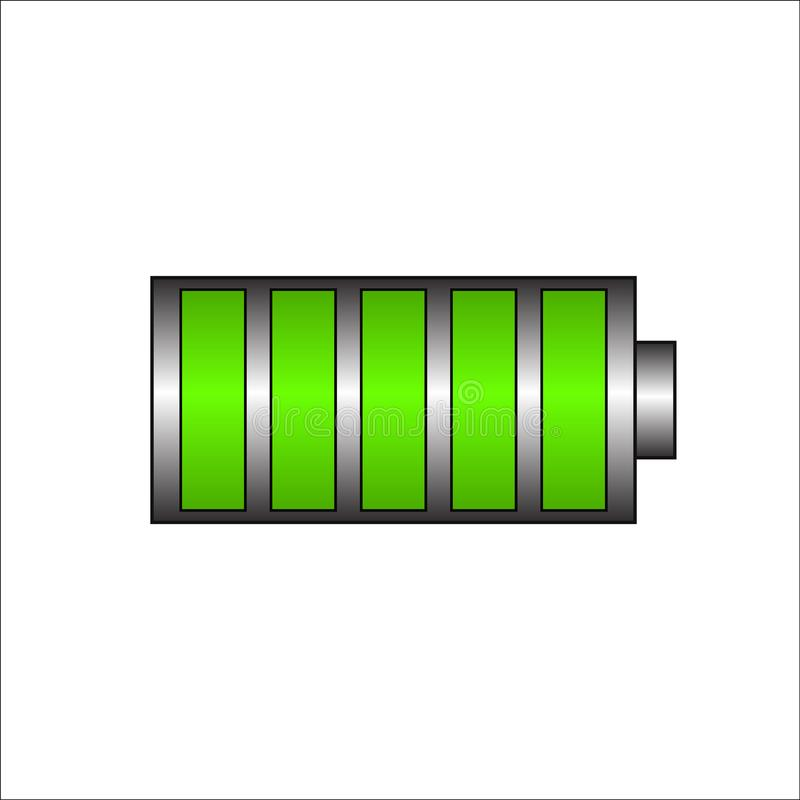 Battery charging icon. Green battery, full charge symbol.  Full charge energy for mobile phone. vector eps10 stock illustration