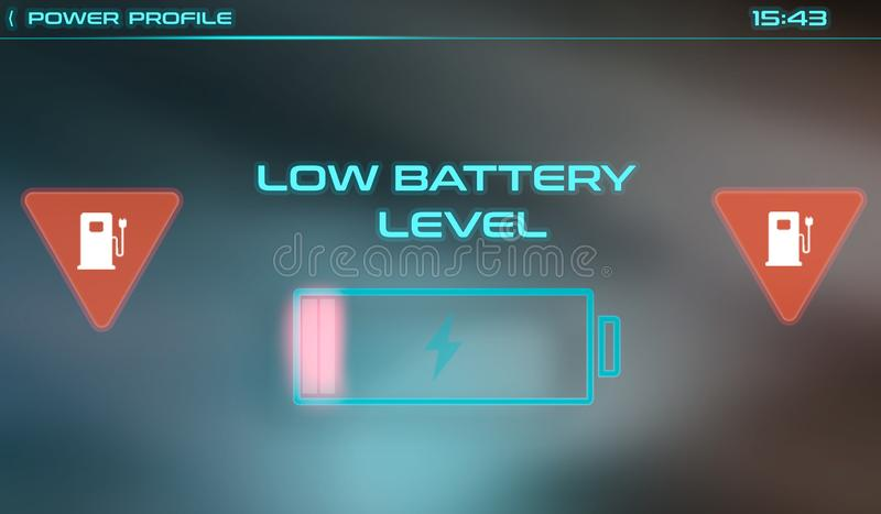 Battery charging interface for car computer screen stock image