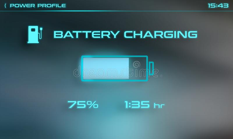 Battery charging interface for car computer screen stock photos