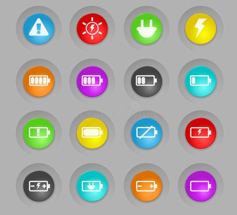 Battery colored plastic round buttons icon set. Battery colored plastic round buttons vector icons for web and user interface design stock illustration