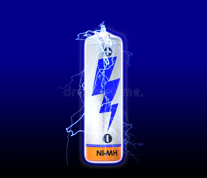 Battery Discharge. Discharge of a battery cell stock illustration