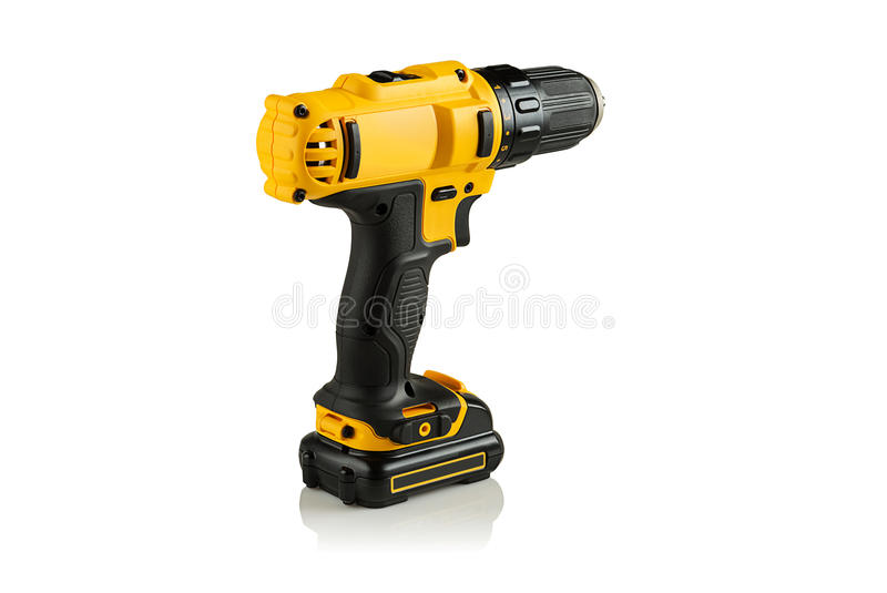 Battery drill screwdriver. On white background with reflection stock image