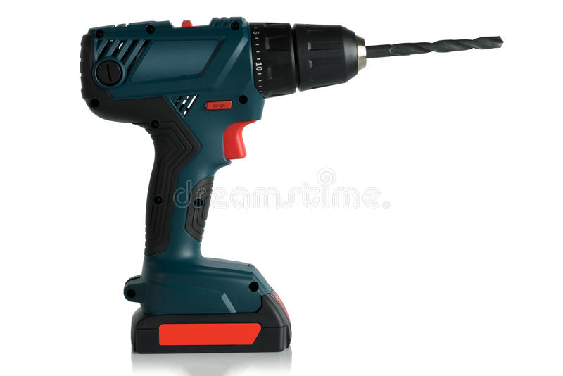 Battery drill screwdriver. On white background, side view royalty free stock image