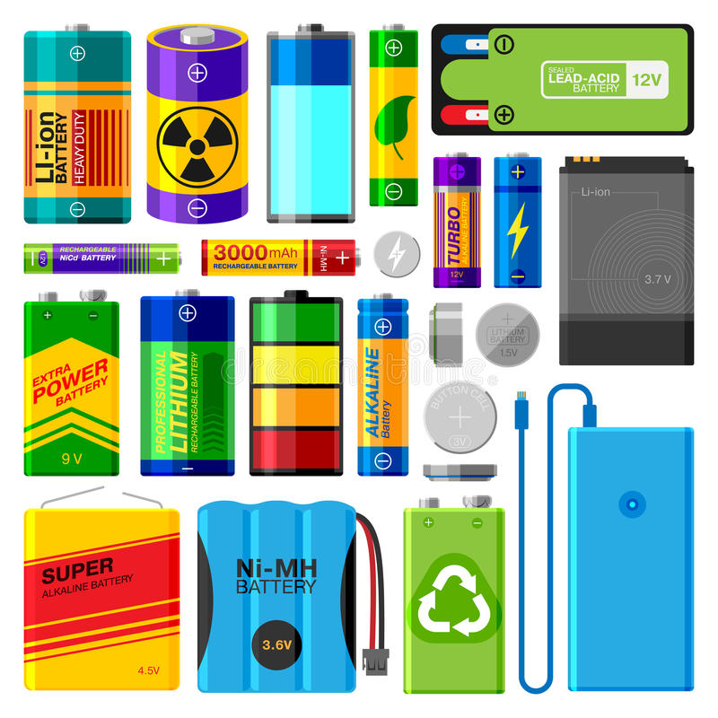 Download Battery Electricity Charge Technology And Accumulator Alkaline Powered Energy Elements Vector Illustration Stock Vector - Illustration: 92629939