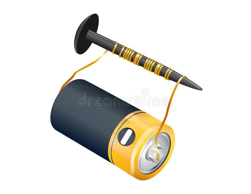 Cartoon Battery Tester : Battery electromagnetic stock illustration