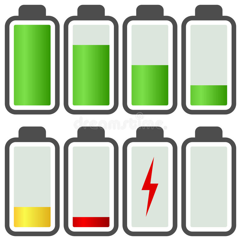 Battery Energy Indicator Icons. Battery energy level indicator icons, isolated on white background. Eps file available vector illustration