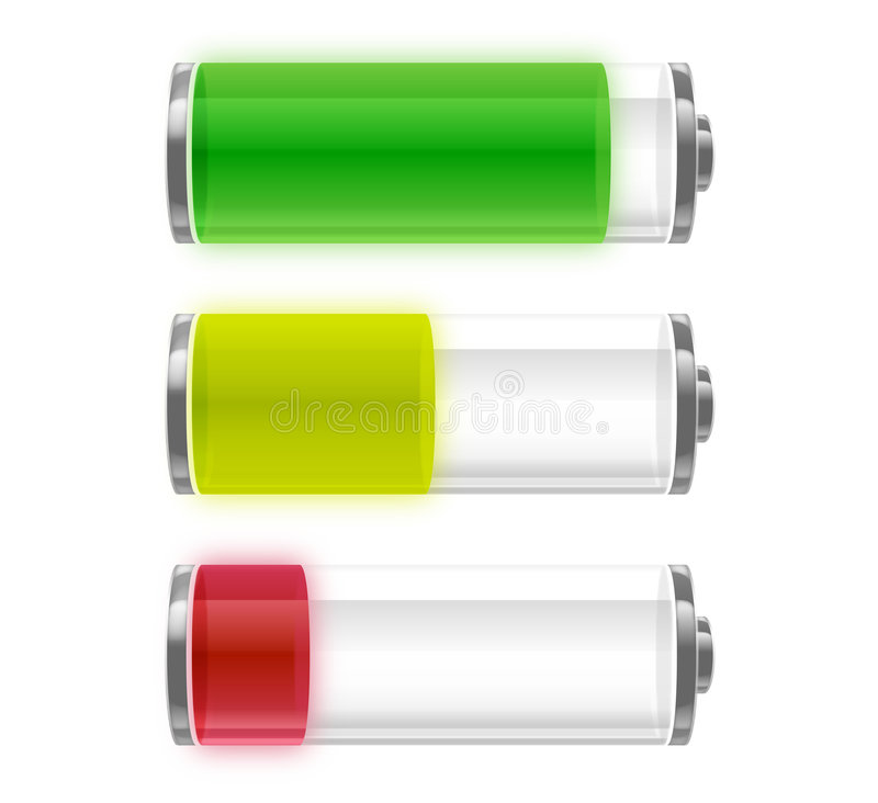 Battery energy levels. Set of vector icons shows levels of battery charge; full, medium and low vector illustration