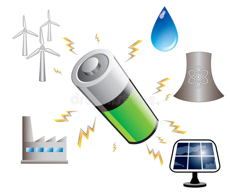 Battery and energy sources, illustration. On white background royalty free illustration