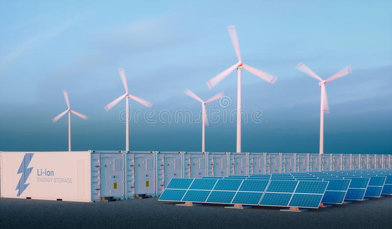 Battery energy storage concept in nice morning light. Hydrogen e. Nergy storage with renewable energy sources - photovoltaic and wind turbine power plant farm vector illustration