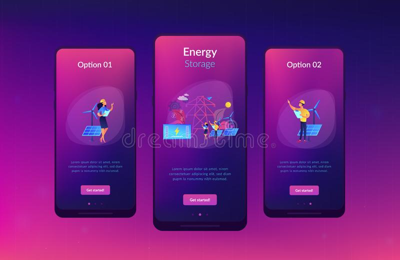 Energy storage app interface template. Battery energy storage from renewable solar and wind power station. Energy storage, energy collection methods, electrical vector illustration