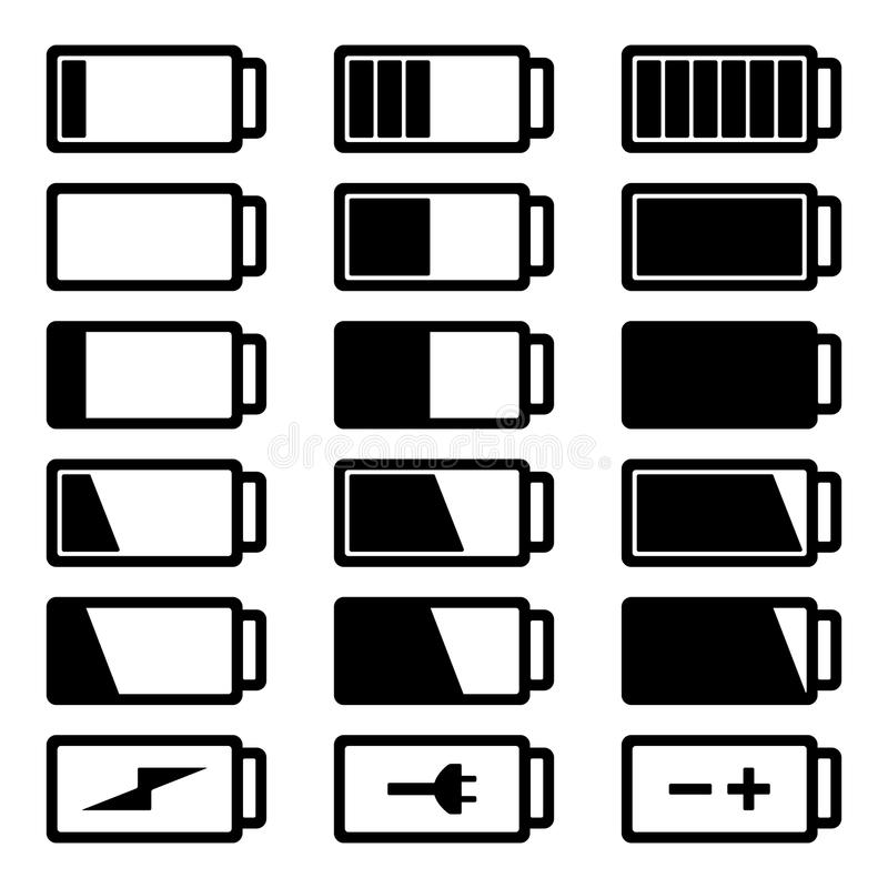 Battery flat black icon set vector illustration isolated on white background royalty free stock photos