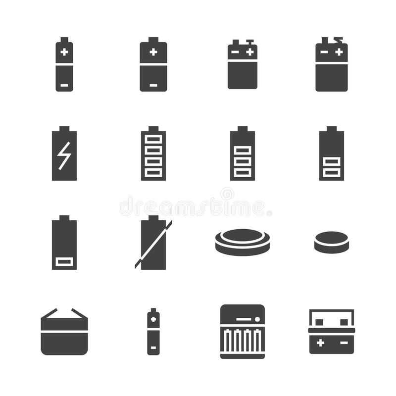 Battery flat glyph icons. Batteries varieties illustrations - aa, alkaline, lithium, car accumulator, charger, full. Charge. Signs for electrical store. Solid stock illustration