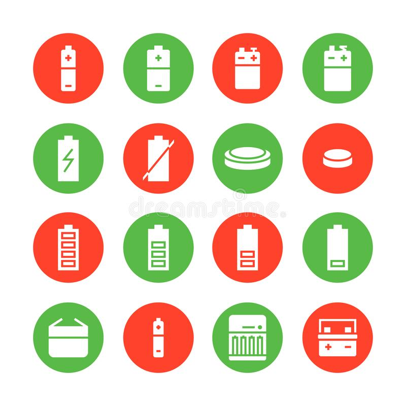 Battery flat glyph icons. Batteries varieties illustrations - aa, alkaline, lithium, car accumulator, charger, full royalty free illustration