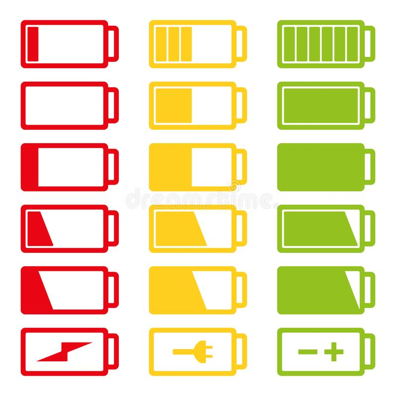 Battery flat icon set vector illustration isolated on white background eps10 royalty free stock photography