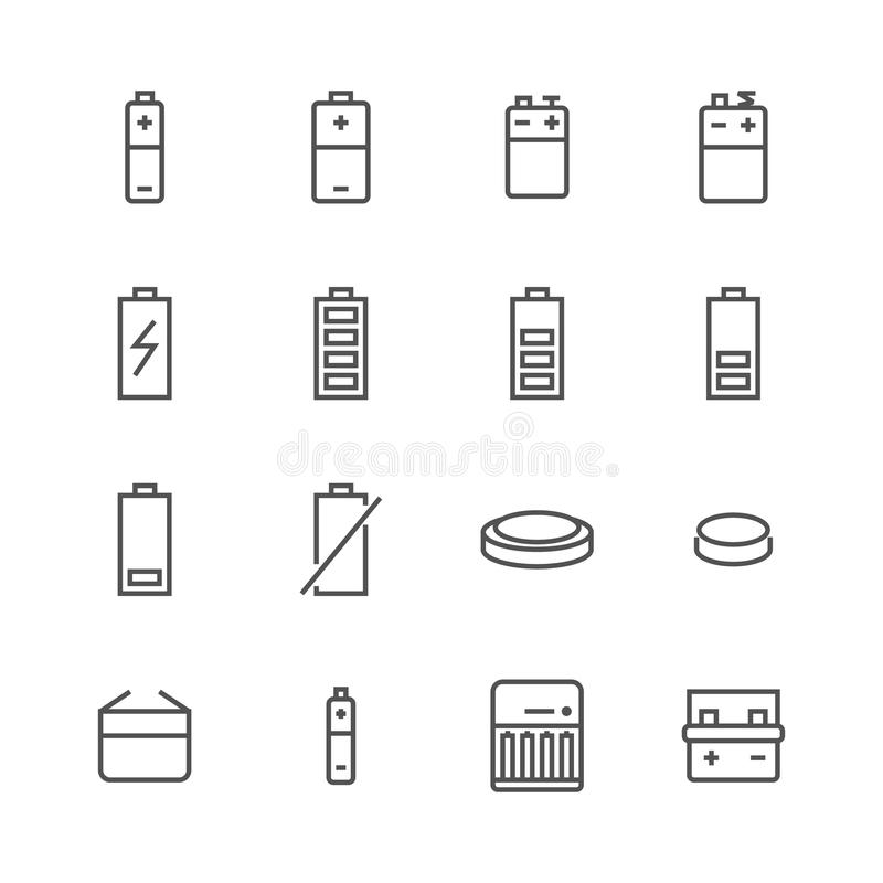 Battery flat line icons. Batteries varieties illustrations - aa, alkaline, lithium, car accumulator, charger, full. Charge. Thin signs for electrical store stock illustration