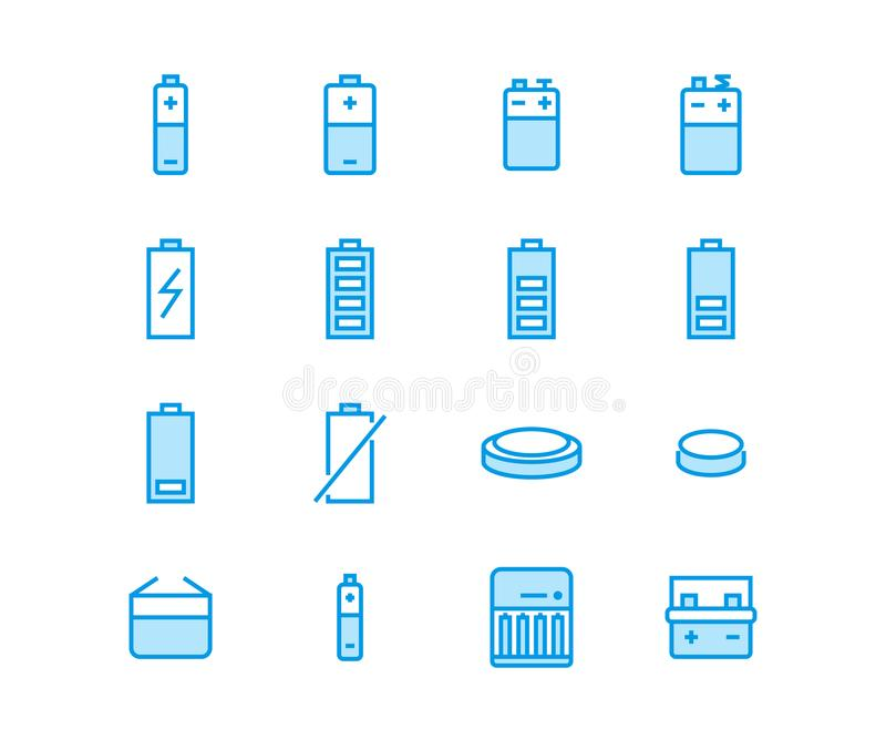 Battery flat line vector icons. Batteries varieties illustrations - aa, alkaline, lithium, car accumulator, charger stock illustration