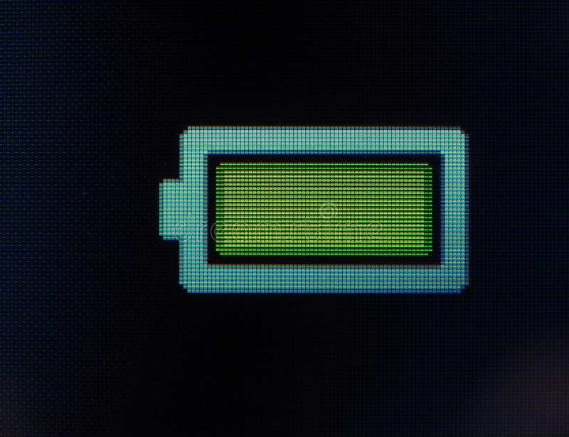 Battery full sign. On a mobile phone lcd screen stock photos