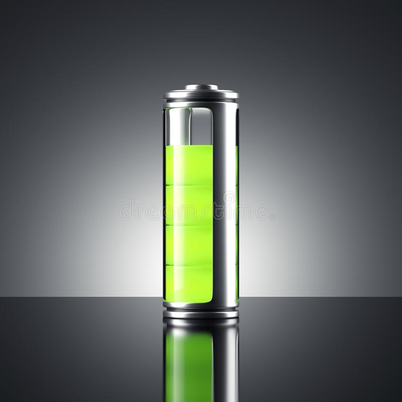 Battery with green indicator. 3d rendering royalty free illustration