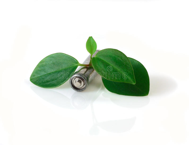 Download Battery and green leaves stock photo. Image of battery - 11097022