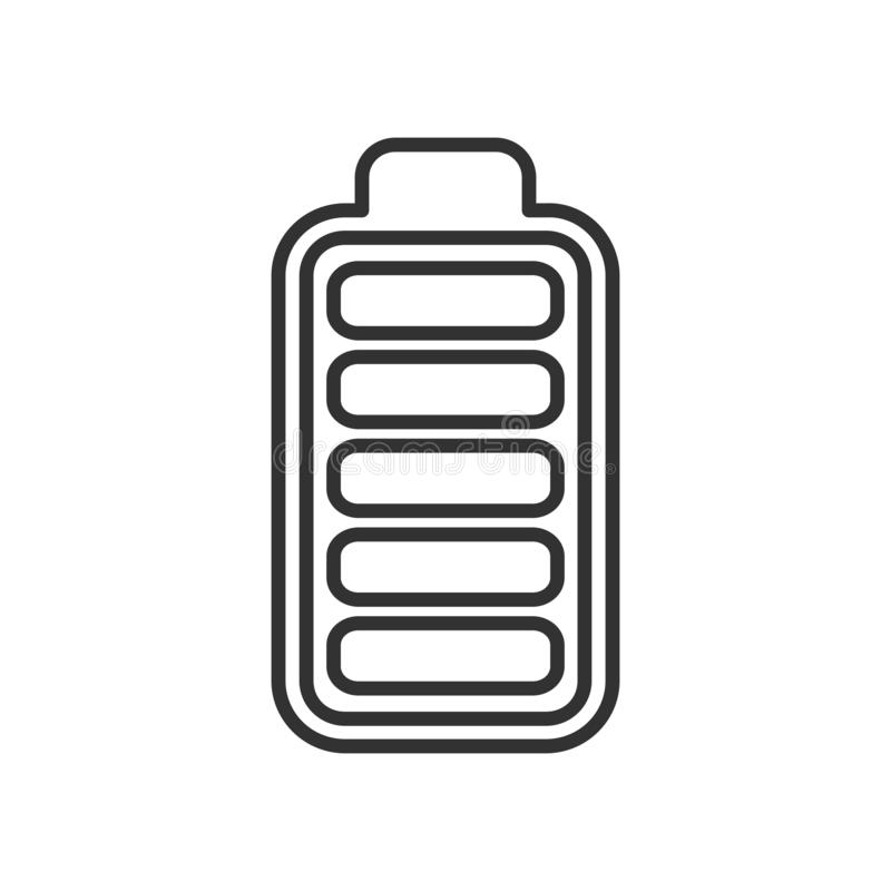 Battery High Energy Indicator Outline Icon stock illustration