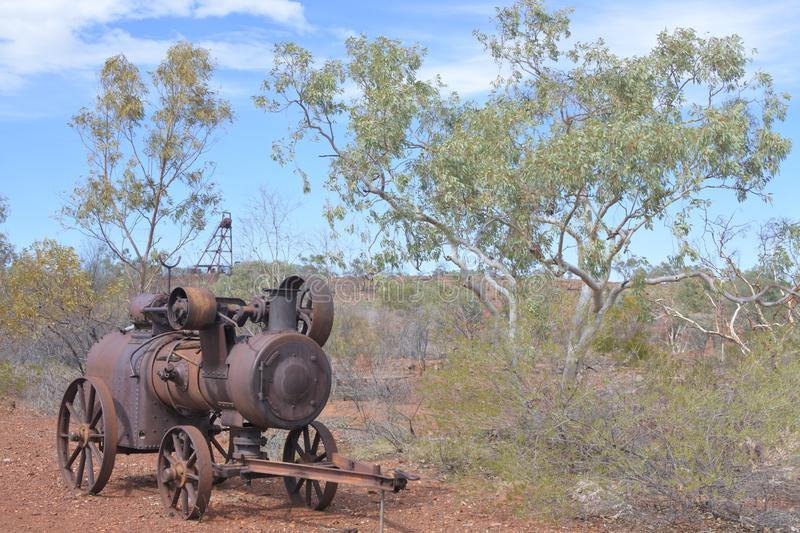 Battery Hill Mining in Tennant Creek Northern Territory Australia. An old mining machinery in Battery Hill Mining in Tennant Creek Northern Territory Australia stock photo