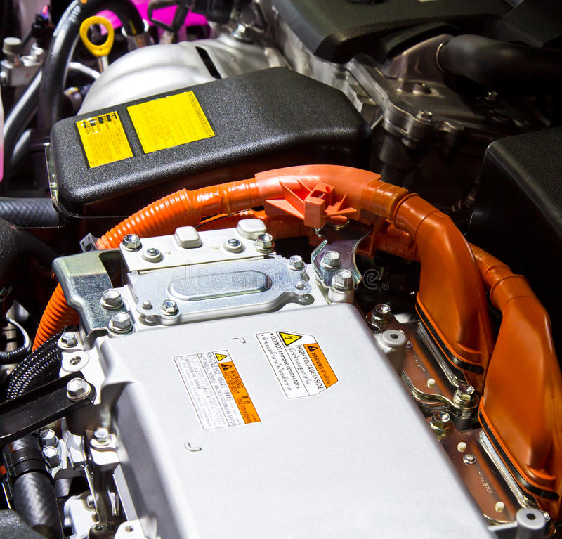 Battery and hybrid engine. For a car stock image